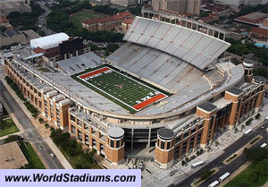 Texas University's DKR Memorial Stadium holds 100,119 people
