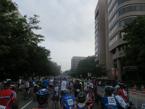 The back of the peloton.  The white banner waaay in the distance is the start/finish line.