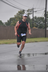 Heading for the finish of the Quantico Triathlon