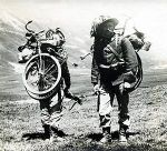 Italian Bersaglieri (Light Infantry) with folding bicycles