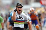 Mark Cavendish, acting like a big shot in his rainbow jersey